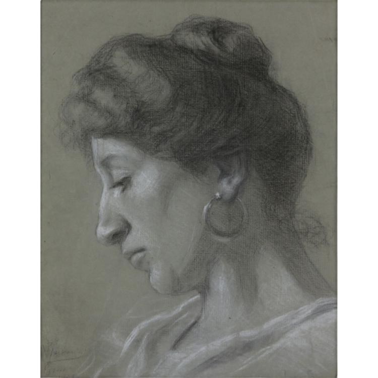 Early 20th Century Roman School Charcoal and White Pastel Two Sided Drawing.