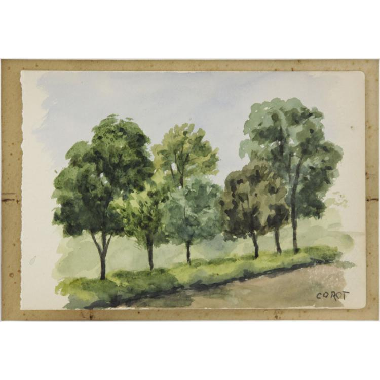 20th Century French School Watercolor on Paper, Tree Lined Path