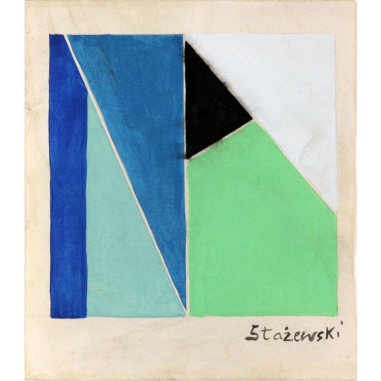 Henryk Stazewski, Polish (1894-1988) Gouache on Paper, Geometric Composition