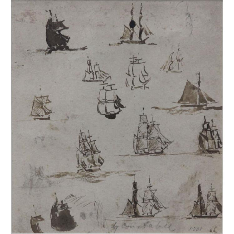 Attributed to: John Constable, English (1776-1837) Pen, Brown Wash, and Pencil Sketch Drawing of Ships on Paper. Pencil Signed in the Plate