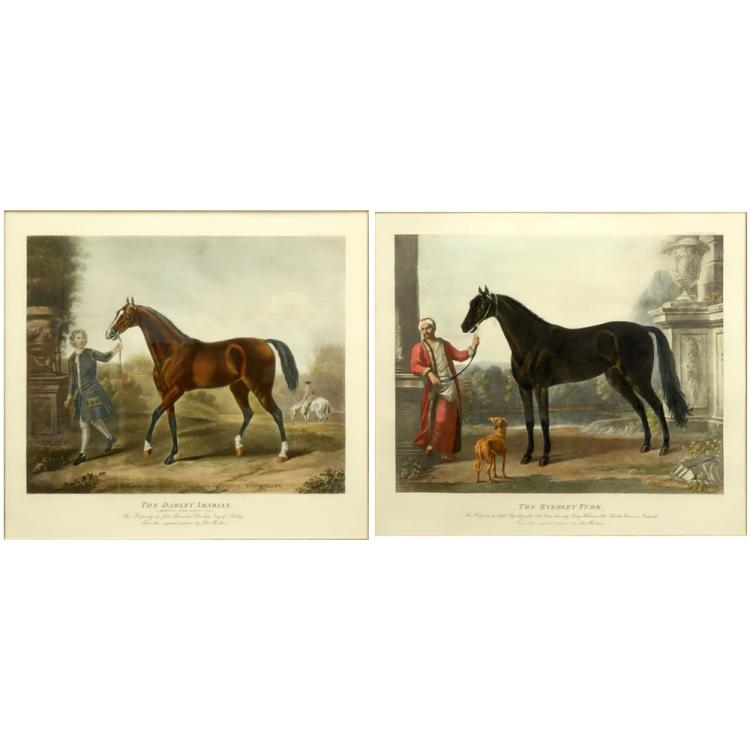 Pair Hand Colored Engravings