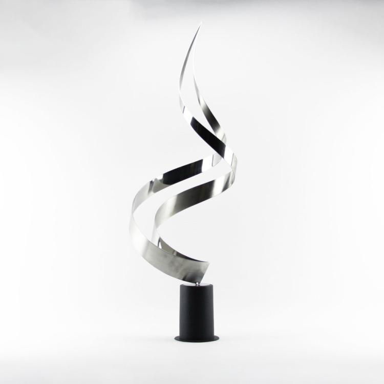 Curtis Jere, American/Chinese (1910-2008) Modern Metalwork Twisted Flame Sculpture n Metal Base