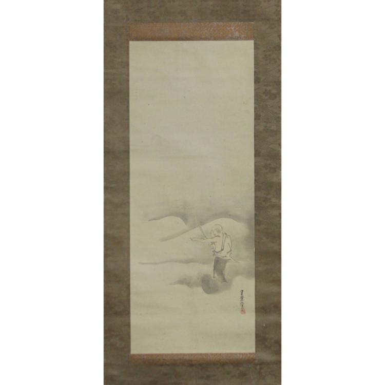 Vintage Japanese Watercolor Scroll Painting on Paper