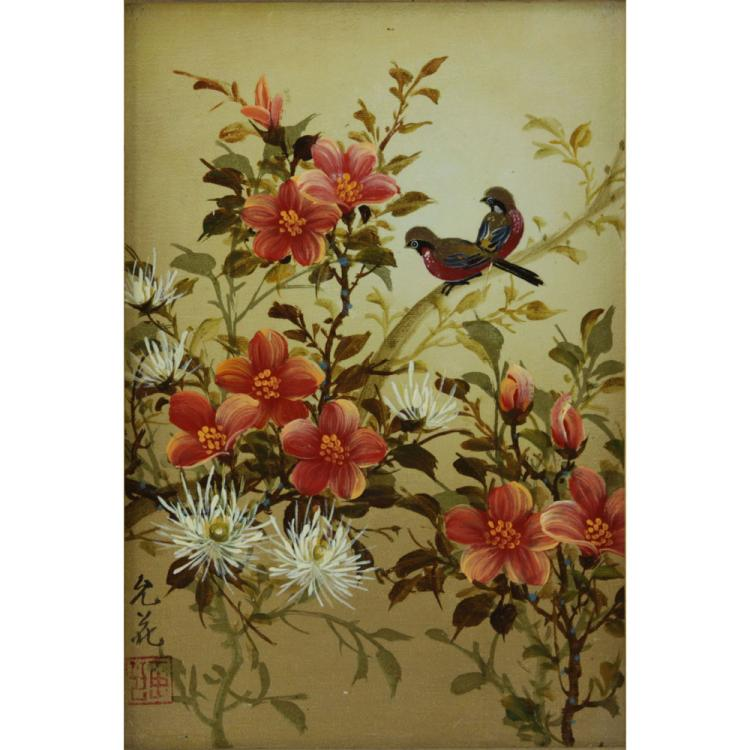 Modern Chinese Oil on Panel, Birtds and Flowers