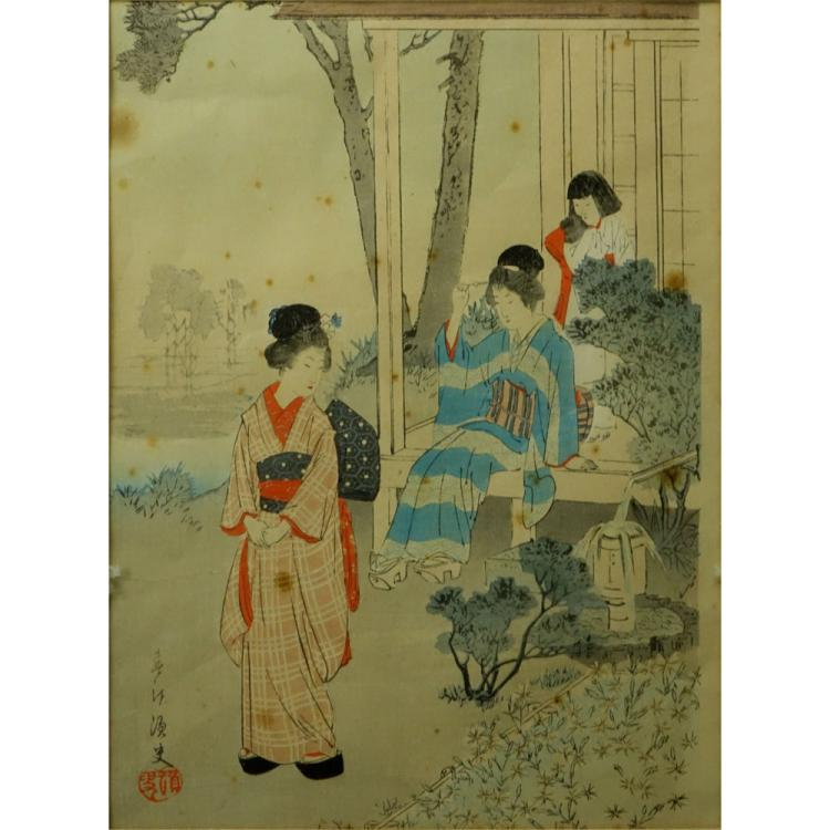 Miyagawa Shuntei, Japanese (1873-1914) 19th Century color woodblock