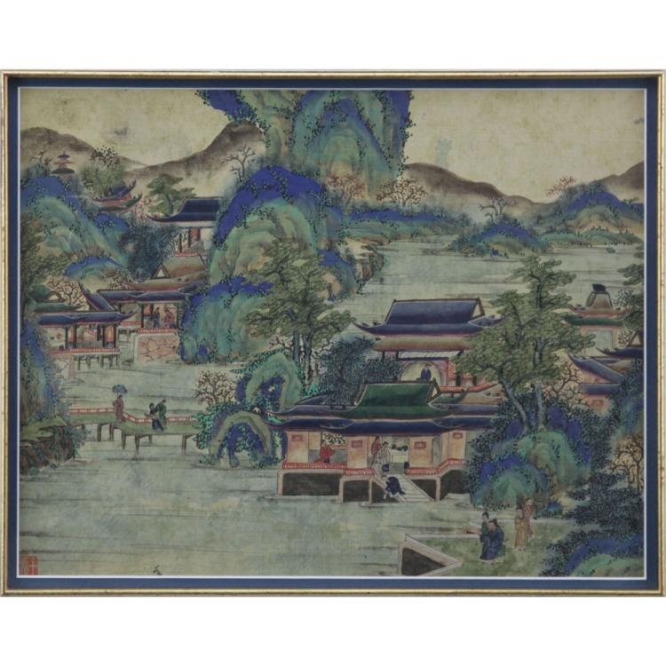 19th Century Chinese Ming Style Village Scene Painting on Silk
