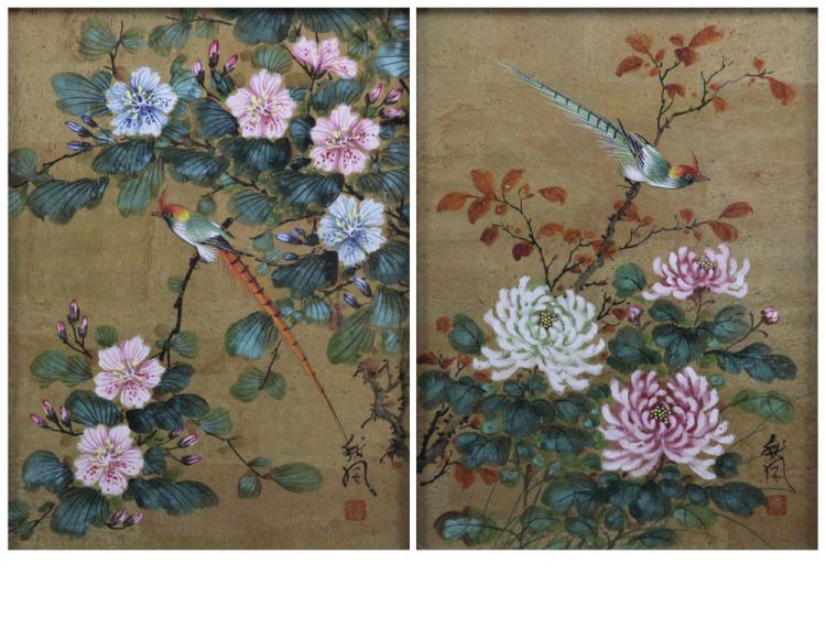 Grouping of Two (2) Chiu Weng, Chinese (20th C.) Watercolor Paintings on Cork Paper