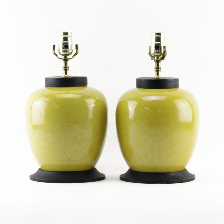 Pair of Vintage Asian Style Mustard Yellow Ginger Jars Mounted as Lamps