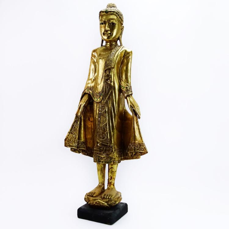 Modern Decorative Thai Carved Gilt and Jeweled Buddha Figure