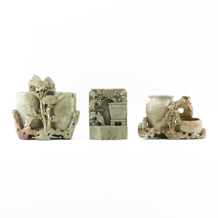 Grouping of Three (3) Chinese Carved Soapstone Relief Cravings