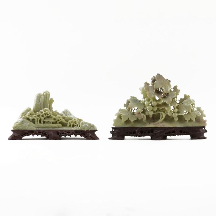 Grouping of Two (2) Chinese Carved Soapstone Relief Carvings