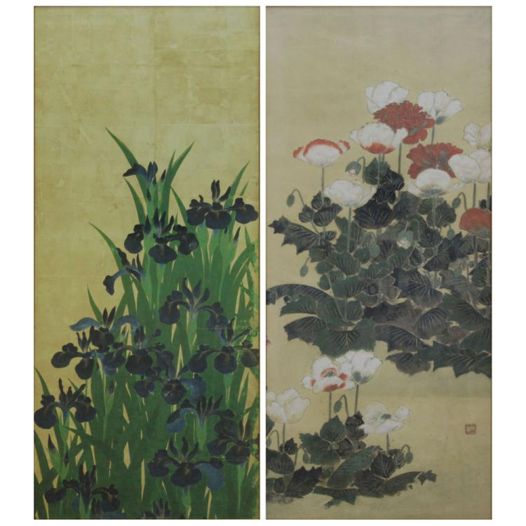 Grouping of Two (2) Asian Floral Prints
