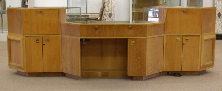 Vintage Three Part Oak and Glass Locking and Lighted Display Cabinet/Showcase with Storage