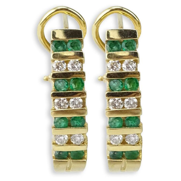 Vintage Emerald, Diamond and 14 Karat Yellow Gold Earrings