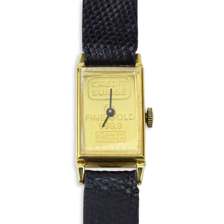 Vintage Lady's Credit Suisse 5gr. Gold Ingot Manual Movement Watch with Lizard Strap