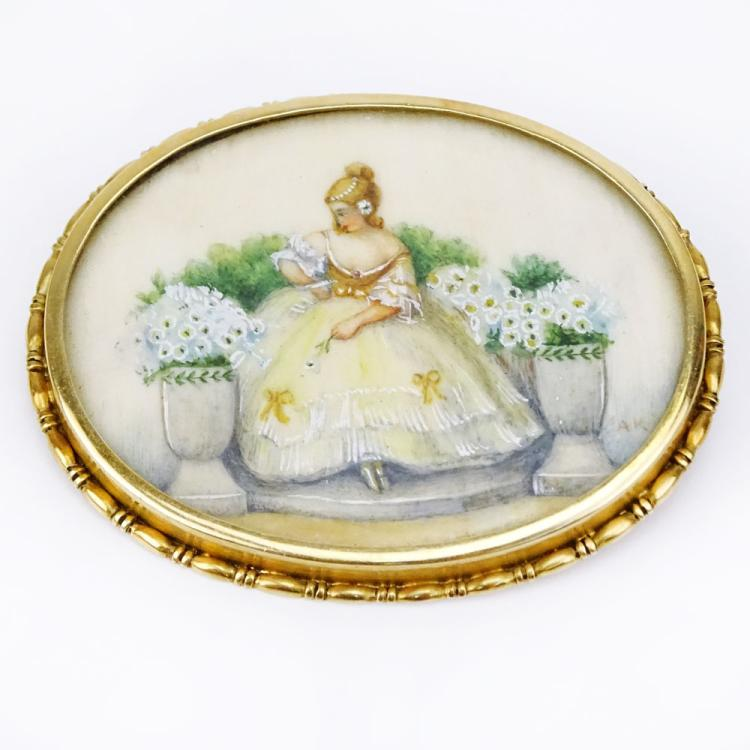 Antique 14 Karat Yellow Gold Brooch with Painted Miniature