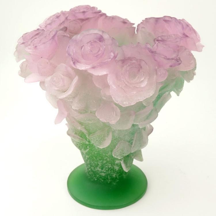 Large Daum Pate de Verre Rose Vase
