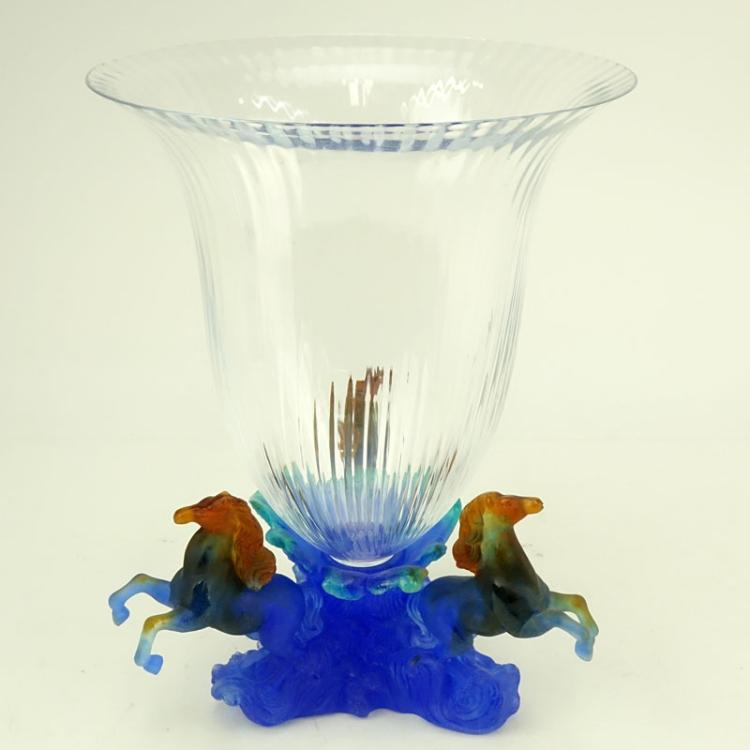 Daum Marly Blue Crystal and Pate de Verre Centerpiece Vase in Original Fitted Box