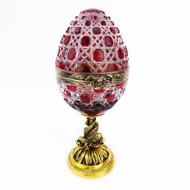 Fine Faberge Winter Rose #9 Ruby Cut to Clear Egg Shaped Covered Box