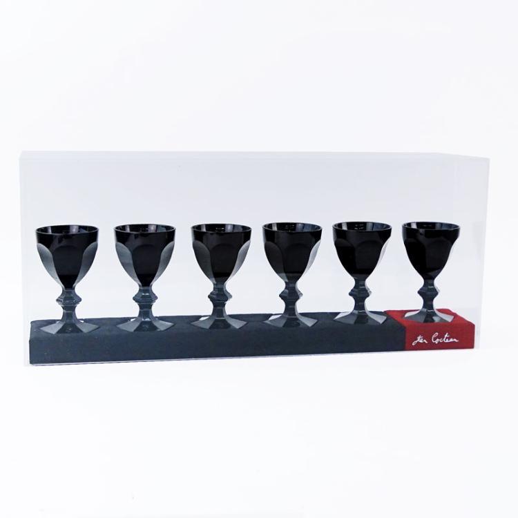 Set of Six (6) Baccarat Black Harcourt Crystal Goblets in Presentoir Case