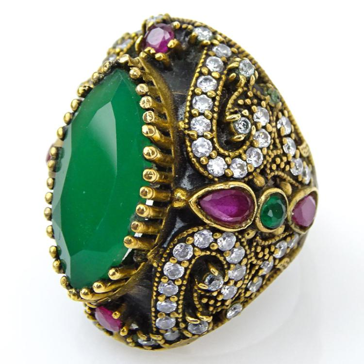 Vintage Mughal Style Chrysoprase, Diamond, Ruby and Emerald Ring