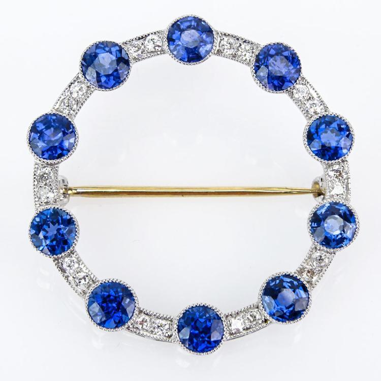 Antique Tiffany & Co Old European Cut Sapphire, Diamond and Platinum Circle Brooch