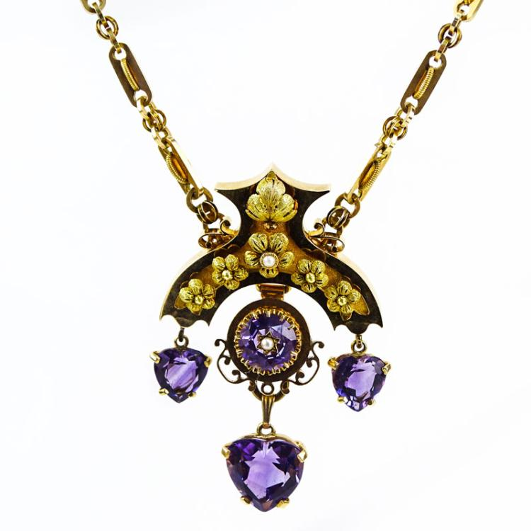 Victorian Egyptian Revival 14 Karat Yellow Gold, Amethyst and Pearl Pendant Necklace