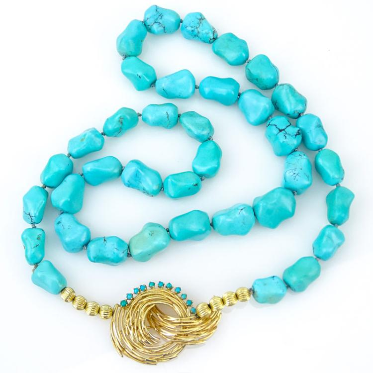 Single Strand Turquoise Beaded Necklace with 14k Victorian Pin Brooch Pendant