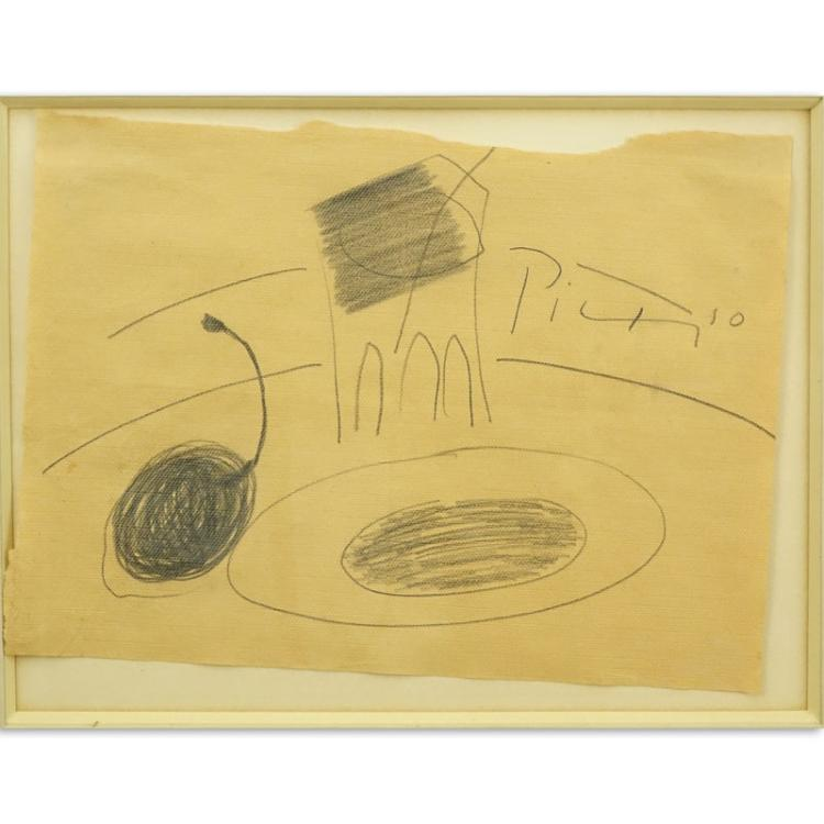 Possibly Pablo Picasso, Spanish (1881-1973) Pencil sketch on a paper napkin