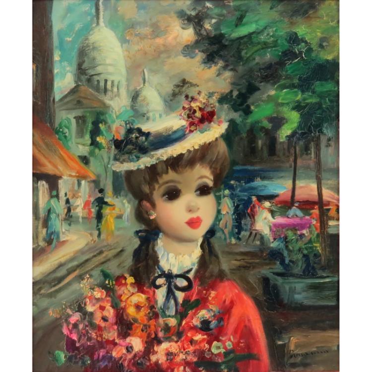 Mid Century Vintage Jean Calogero Style Oil On Canvas