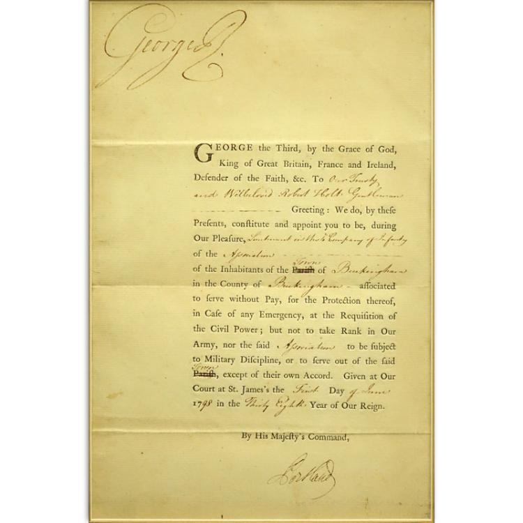 "King George III of England (1738-1820) Circa June 1, 1798 Letter to ""Our Trusty & Well Loved Robert Holt"