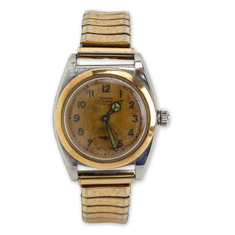 Men's Very Rare Circa 1934 Rolex Bubble Back Pink Gold and Stainless Steel Oyster Perpetual Chronograph