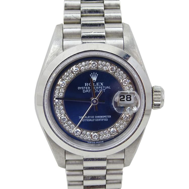 Lady's Platinum Rolex Datejust Chronometer with Diamond Dial