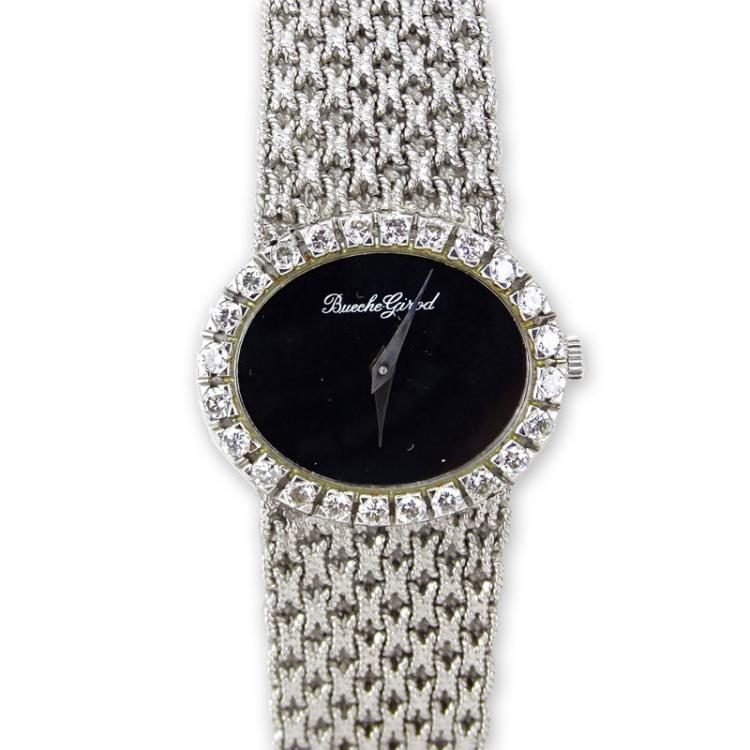 Lady's 18 Karat White Gold Bueche-Girod Bracelet Watch with Diamond Bezel and Manual Movement