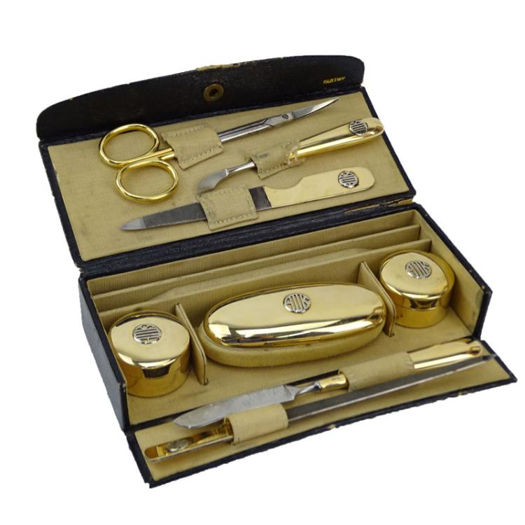 Fine and Rare Victorian for Cartier Seven (7) Piece 14 Karat Yellow Gold Travel Manicure Set in Fitted Box Plus Tiffany & Co 18 Karat Yellow Gold Handed Cuticle Scissors