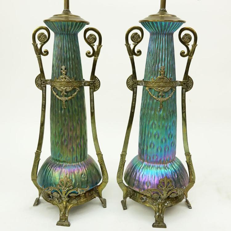An Impressive Pair Of Kralik Sea Urchin Art Nouveau Bohemian Art Glass Lamps