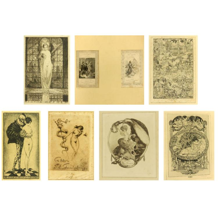 Collection of Eight (8) Antique Ex-libres Bookplate Engraving Etchings