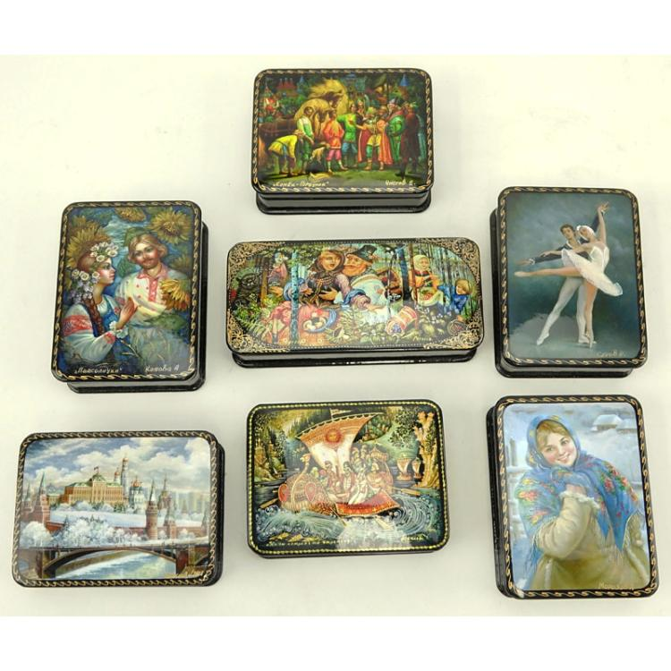 Collection of Seven (7) Russian Lacquer Boxes