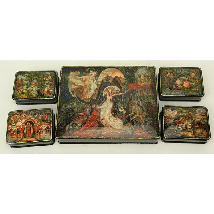 Collection of Five (5) Russian Lacquered Boxes