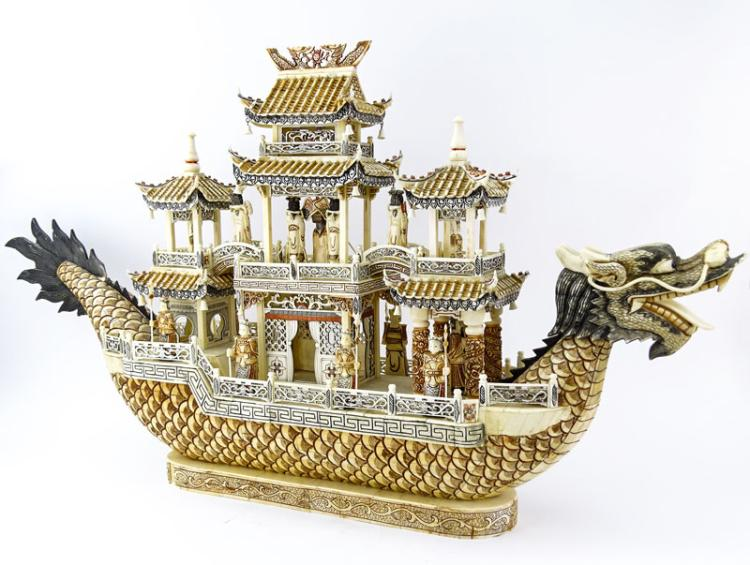Vintage Chinese Carved Bone Dragon Ship with Immortals