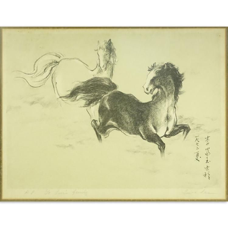 Early 20th Chinese School Artist Proof Lithograph Pencil Signed Lower Right