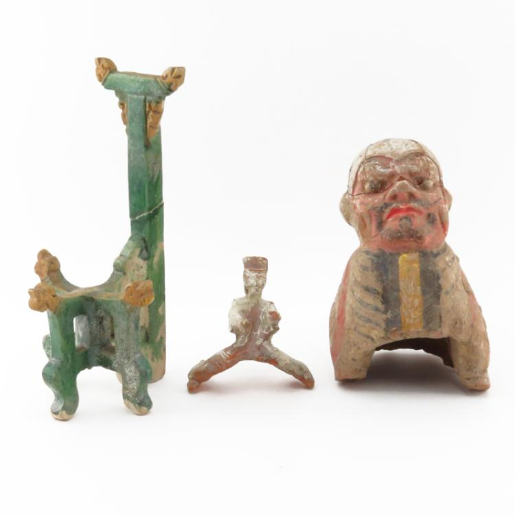 Large Chinese Ming Dynasty (1368-1644) Polychrome Pottery Tomb Figure along With a Smaller