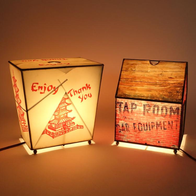 Two (2) Daniel Sadler, American (1957-2004) Hand Painted Mixed Media Lamps