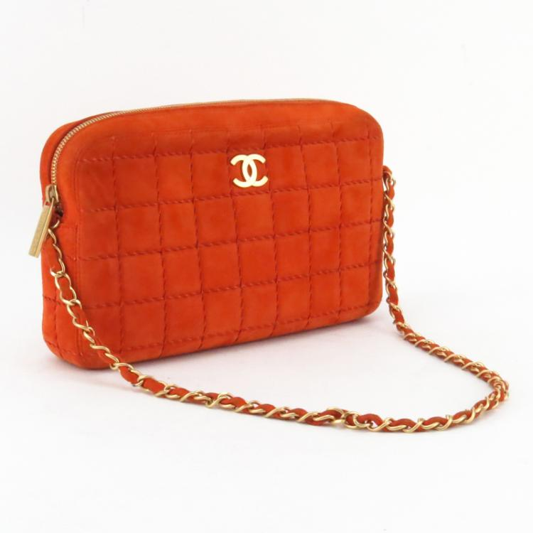 3446bc7e6bb5 Chanel Vintage Orange Quilted Suede Shoulder Bag.