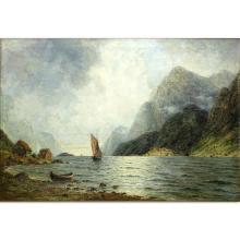 "Nikolai Nikanorovich Dubovskoy, Russian (1859-1918) Oil on canvas ""Sail Boat Through The Mountains"""