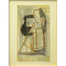 Attributed to: Max Herman Maxy, Romanian (1895 - 1971) Mixed media on card