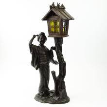 Early to Mid 20th C Japanese Bronze Figural Lamp