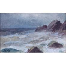 "Lev Feliksovich Lagorio, Russian (1827 - 1905) Watercolor on paper ""Rocky Shoreline. Signed lower l"