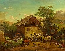 """in the style of: Franz Reinhold, Austrian (1816-1893) Oil on Canvas """"Busy Day At The Mill"""" Signed Lower Right F. Reinhold. Craquelure and Losses. Measures 24-3/4 Inches by 31 Inches. Shipping $125.00 (estimate $300-$500)"""