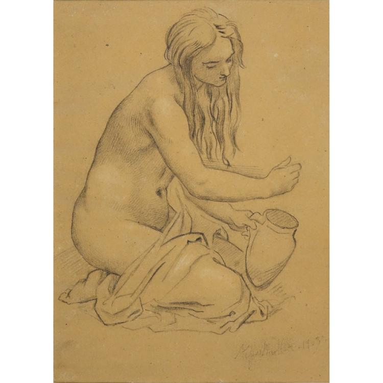 Moritz Muller the Younger, German (1868-19340 Pencil drawing on paper